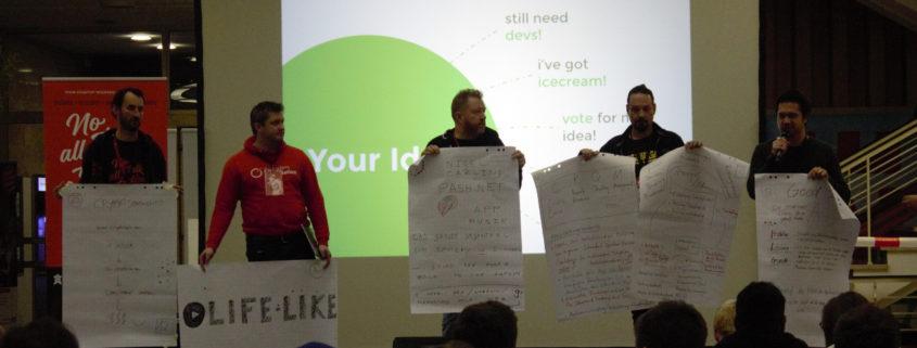 Die 5 Projekte mit den meisten Stimmen beim Startup Weekend Bielefeld 2017.