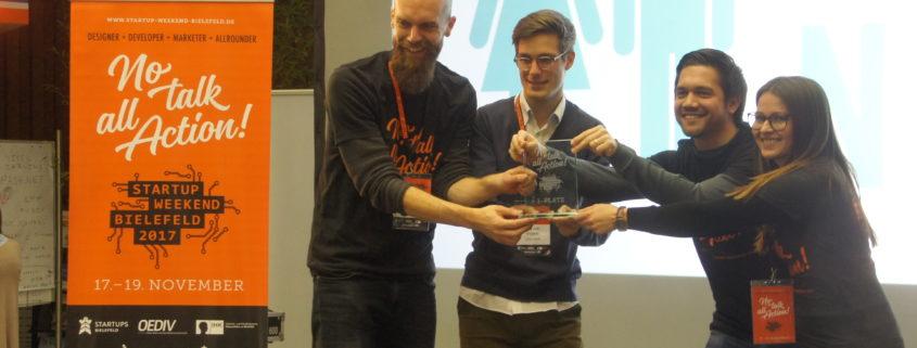 Die Sieger des Startup Weekend Bielefeld 2017